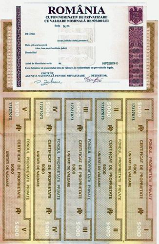 1995 Certificat De Privatizare