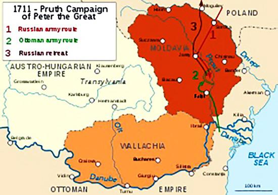 1711 Harta Campaniei De La Prut