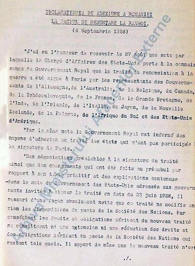 1928 România A Aderat La Pactul Kellogg-briand