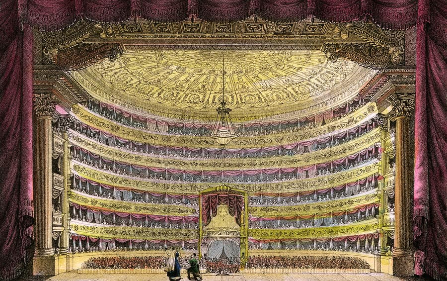 5 - La-Scala-The-Auditorium-Viewed-Drawing-by-Mary-Evans