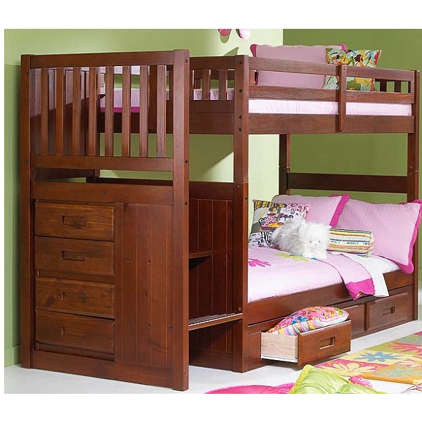 Bunk Bed With Stairs Solid Pine Mission Stair Step Bunk