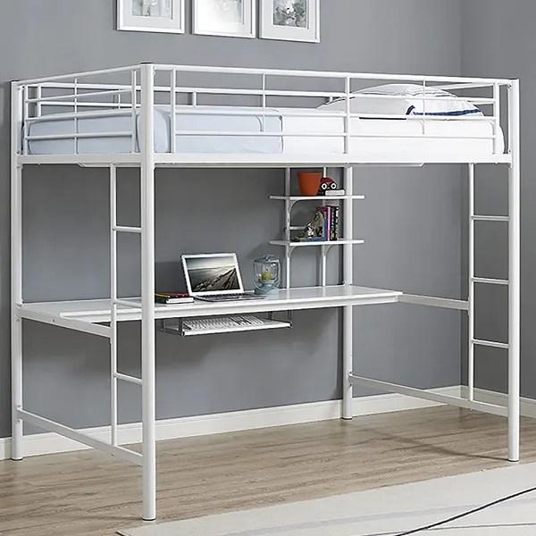 Full Size White Metal Loft Bed Workstation Steel Study