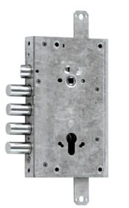 serratura triplice a ingranaggio con scrocco superiore