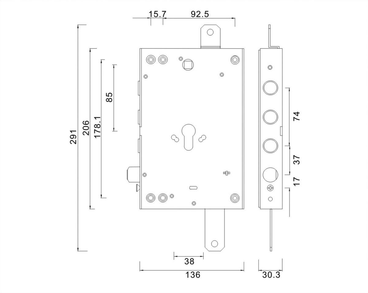 serratura triplice a ingranaggio reversibile 3 pistoni