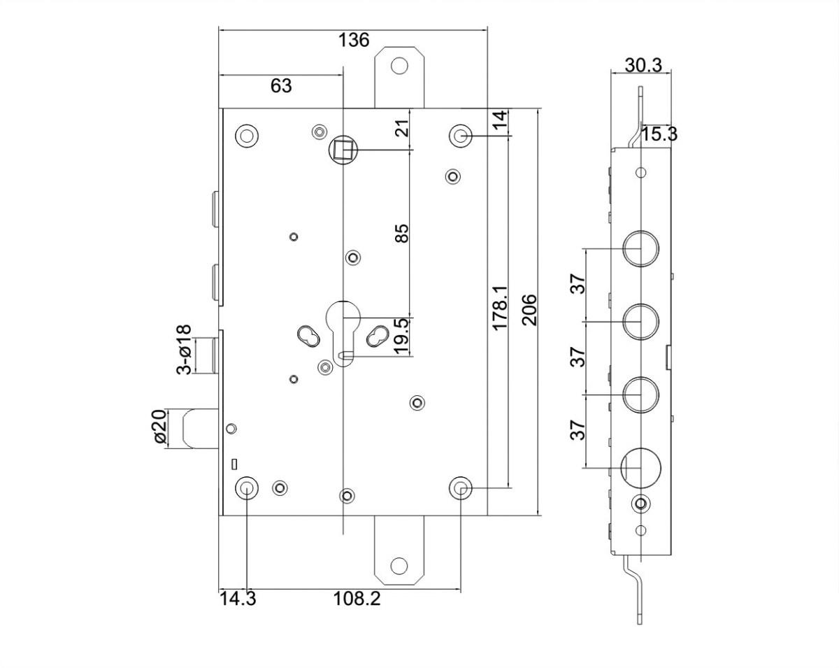 serratura triplice con trappola a mandate 3 pistoni
