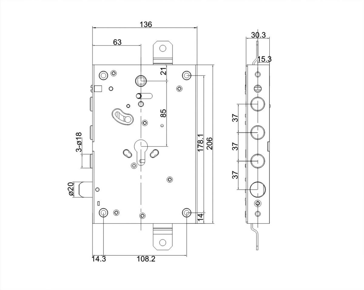 serratura triplice con maniglia blocca/sblocca a mandate 3 pistoni