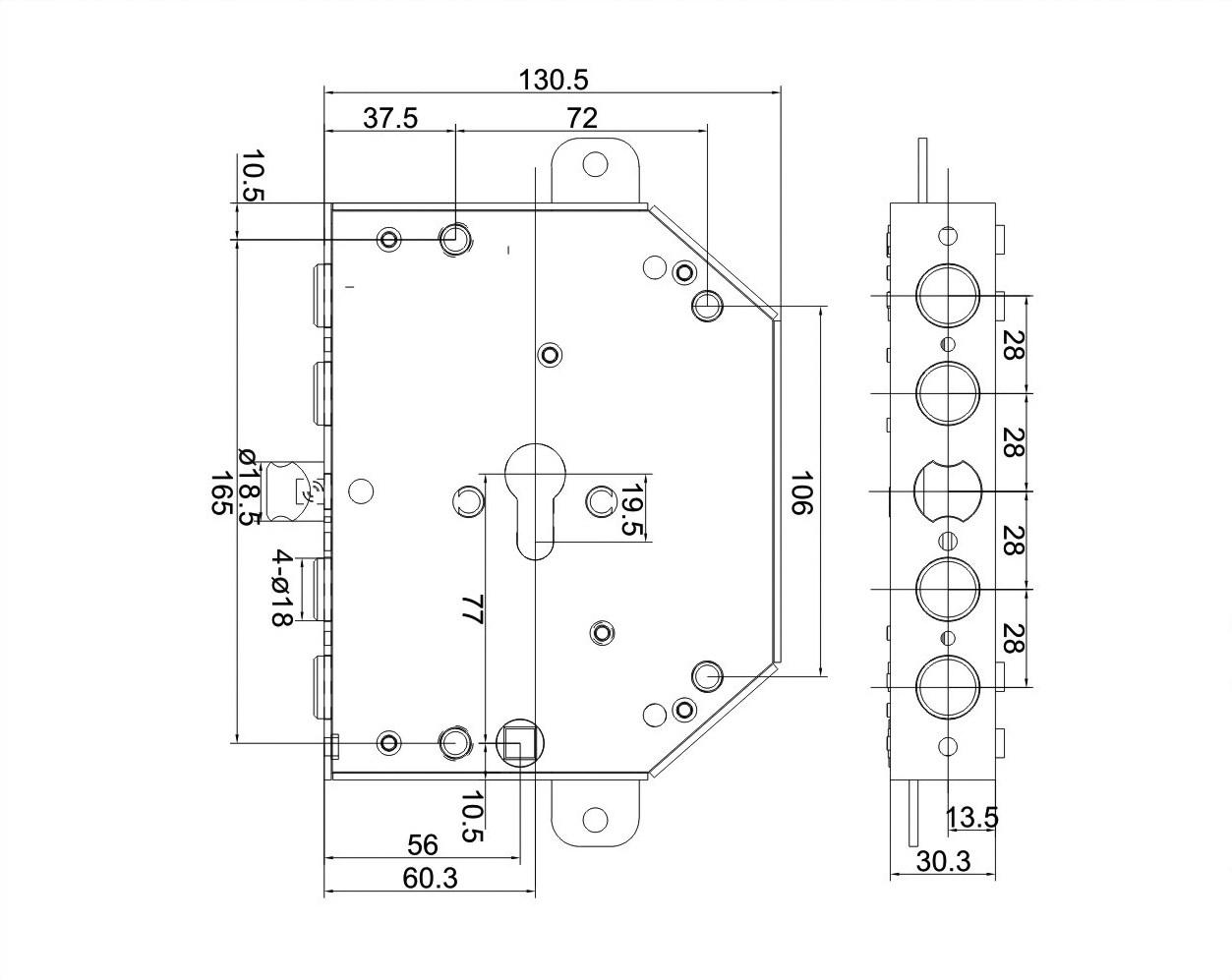 serratura triplice a mandate con scrocco centrale 4 pistoni