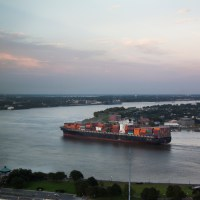 Cargo Ship on the Mississippi at Sunset