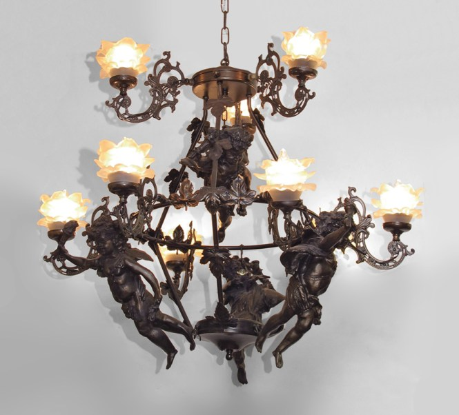Decorative Figural Cherub Chandelier 9 Light With Frosted Glass Fl Motif Shades Cast And Metal Frame Resin Cherubs