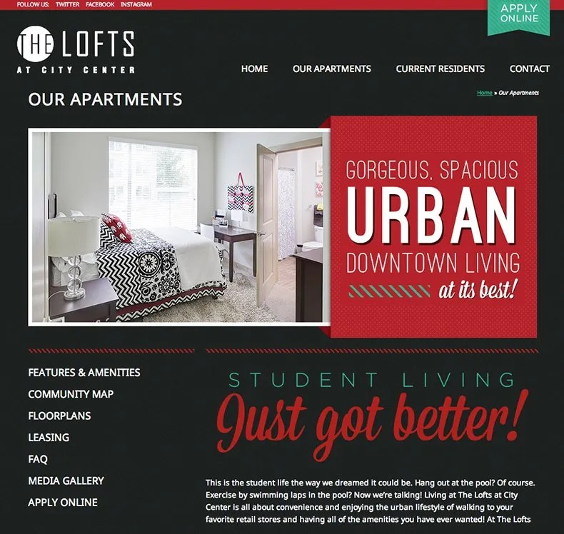 student housing web design