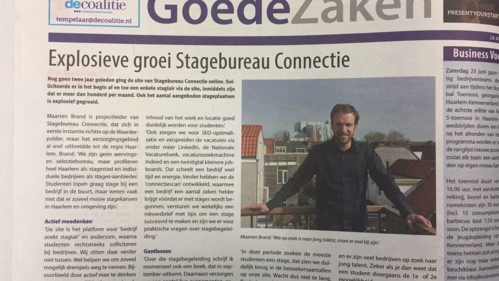 Maarten Brand voor Stagebureau Connectie, het lokaalste stagebureau van Haarlem