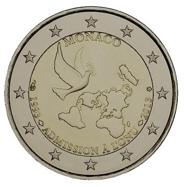 Pièce de 2 euros commémoration de l'adhésion à l'onu de monaco