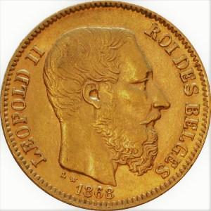 Pièce en or Léopold II rare de 20 Francs pièce Belge