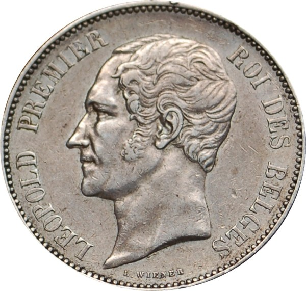 Pièce de 5 Francs de Léopold I en argent massif