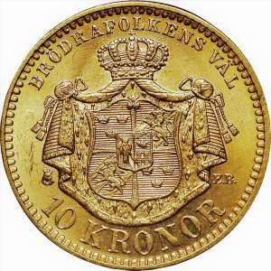 Oscar II roi de Suède et de Norvège 10 couronnes 10 kronor
