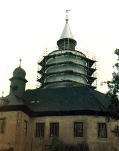 Burg Posterstein während der Restaurierung des Ostflügels um 1984 (Museum Burg Posterstein)