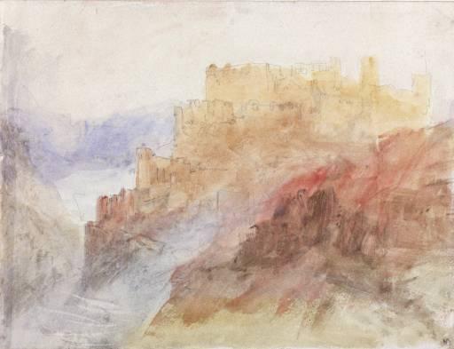 Gemälde von William Turner mit Burg Rheinfels, Burgruine am Rhein