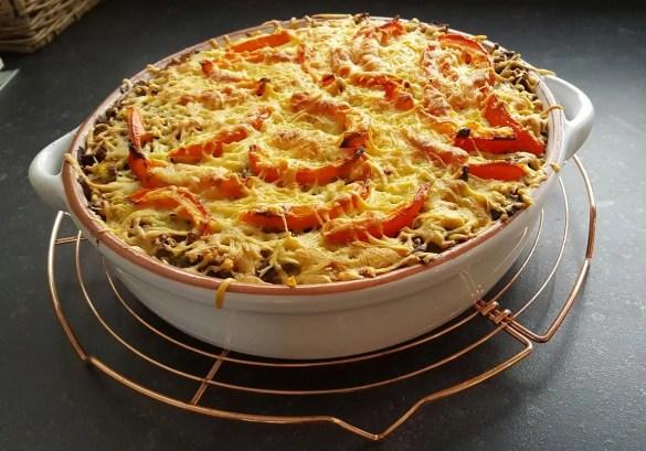 Recept: Jonna's smaakvolle ovenschotel prei, zoete aardappel en gehakt
