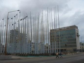 Havana - black flags outside US Consulate