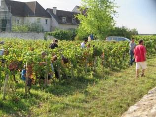 Roumier team in Bussiere with schoolchildren (teacher is mid shot with white shir
