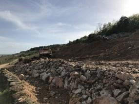 Jogging - MOrey excavations above Clos de la Roche...