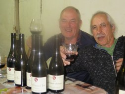 At Dinner 5 - two jolly vendangeurs after critical wine assessment (not !)
