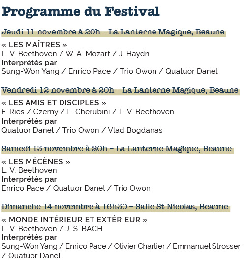 Beethoven in Beaune 2021 Programme