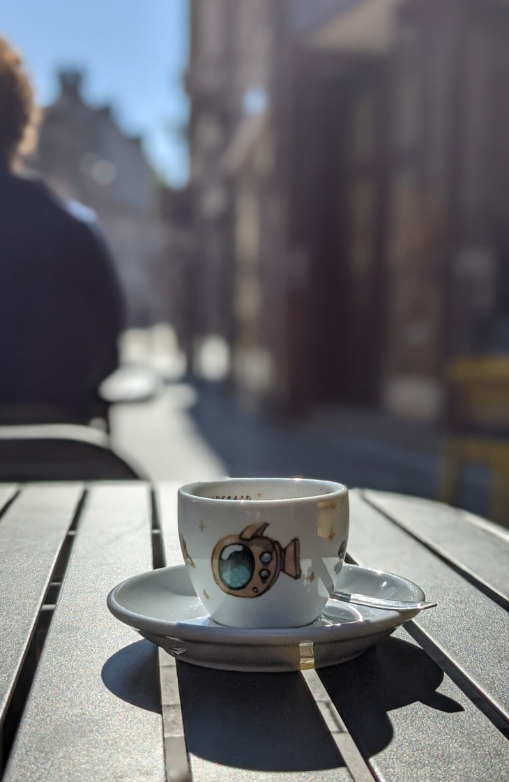 Morning coffee in Beaune...