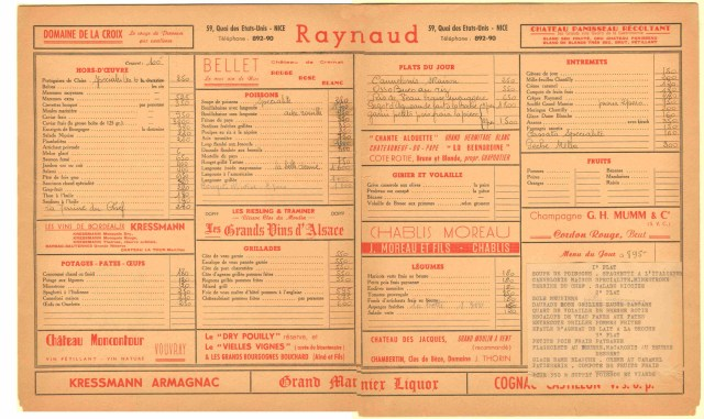 Raynaud Menu Nice France Gallant