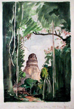 watercolor by thomas christensen, first view of temple one, tikal, from east plaza
