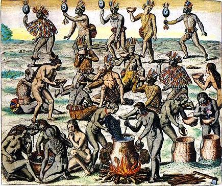 native women preparing manioc