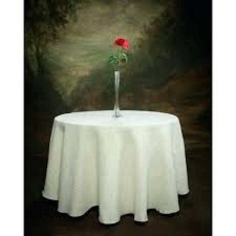 Round White 102 Inch Tablecloth Burlap Boutique