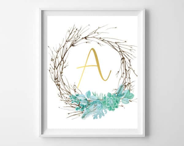 Twig and succulent initial printables! Free Winter printable art for your home | burlap + blue