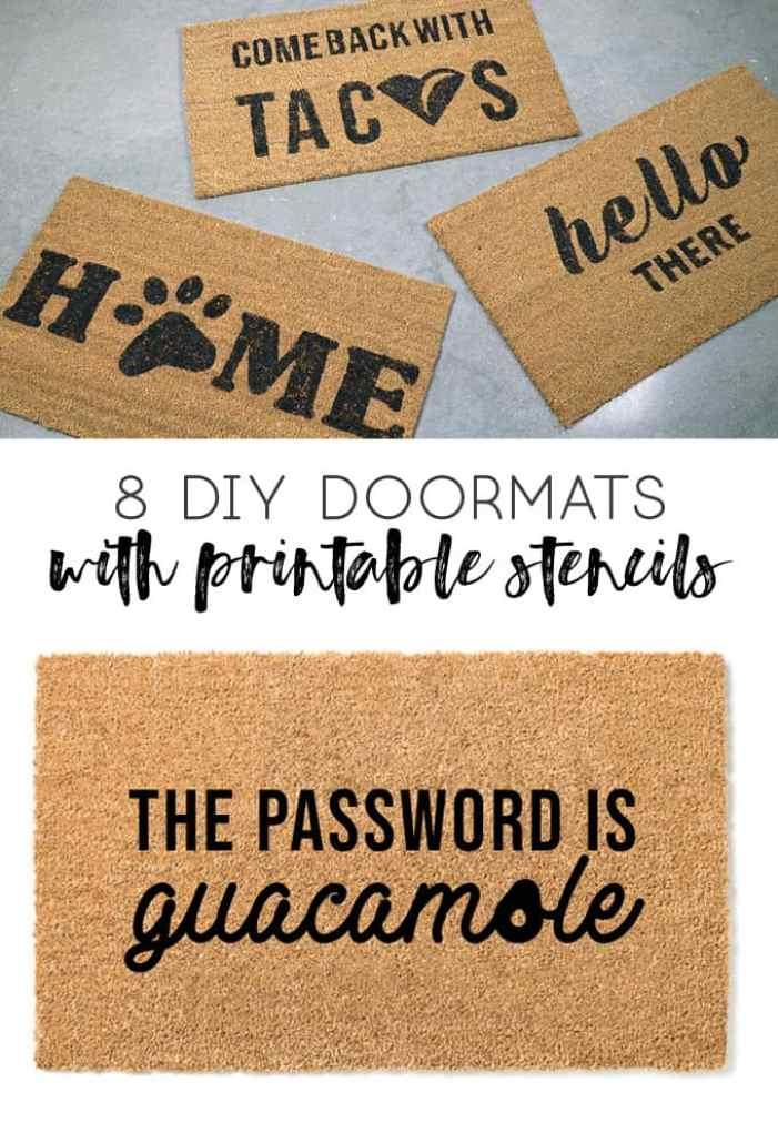 how to stencil a doormat | diy doormat | dog doormat | cat lover | guacamole | taco doormat | wine gifts | gifts for friends