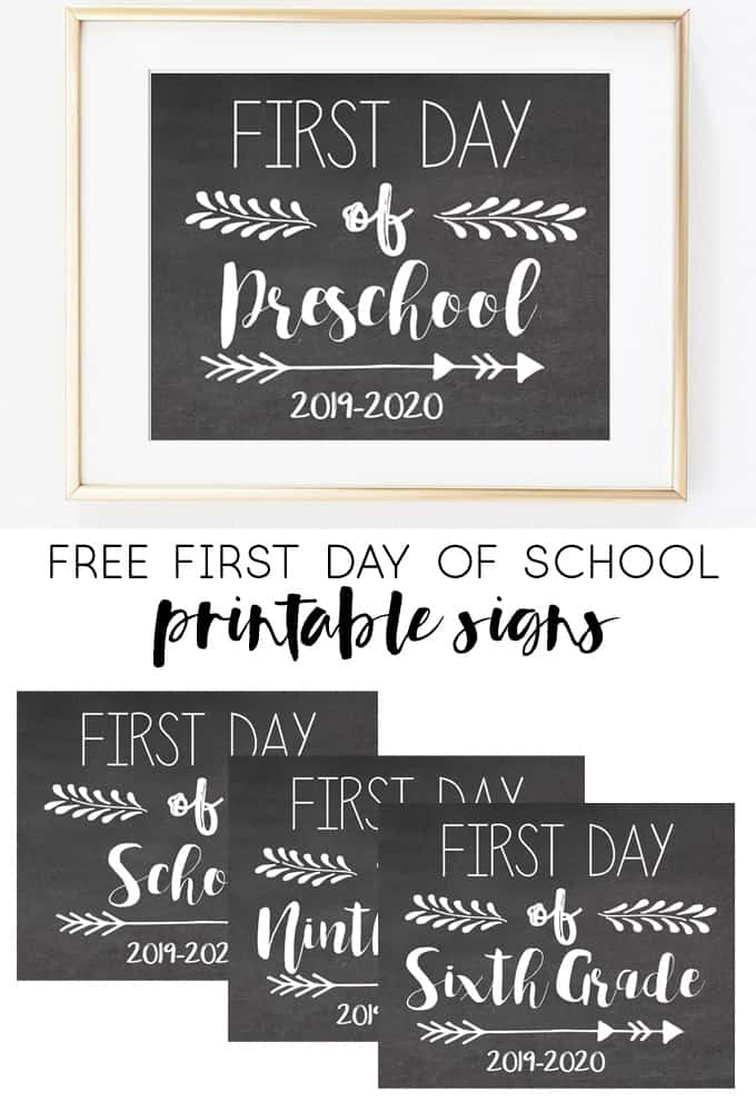Free First Day Of School Printable Signs 2019 2020