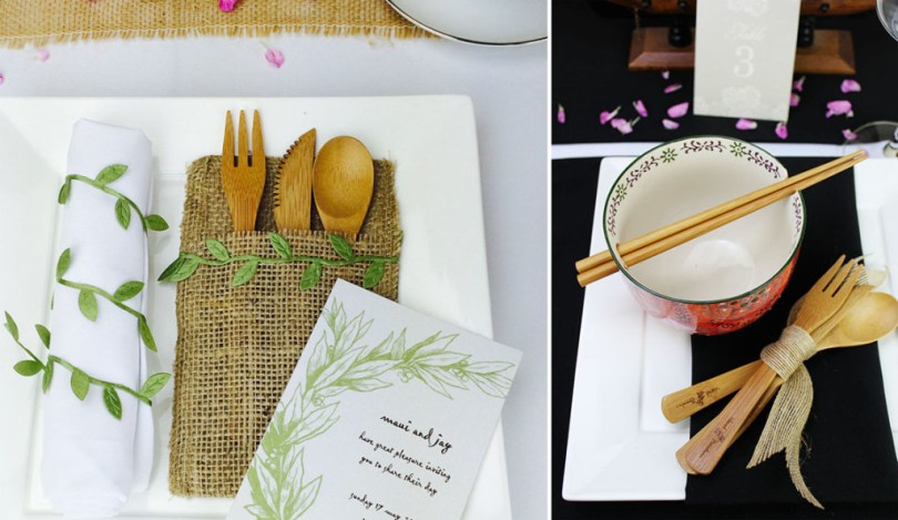 black and white napkins for a rustic asian wedding