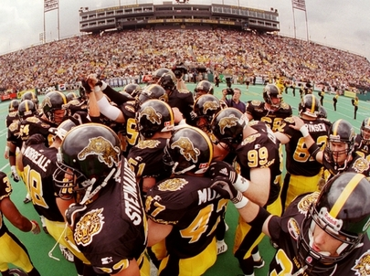 Stadium looks a little crowded – team needs more room.