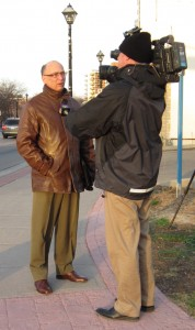 Geoff Brock does a stand up piece for a television news camera during the demonstration against long range plans for a highway through the Niagara Escarpment.