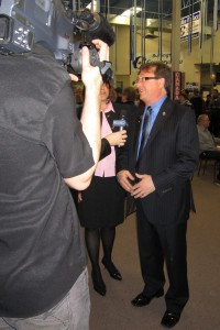 Mike Wallace talks to the Cogeco Cable camera – getting his 15 minutes of fame early in the term