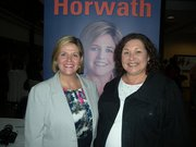 Peggy Russell, Burlington NDP candidate in the October 6th provincial election with NDP party leader Andrea Horwath.