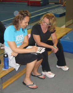 Kathy Kline runs the Peer to Peer program at the Burlington Gymnastics Club along with her associate Jenna Gleza  The two know the strengths and weaknesses of each of the athletes and work tirelessly to help each one advance to the next level.
