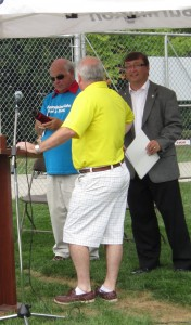 """Those yellow shorts belong to one of the city's General Manager's – and it isn't Kim Phillips.  It was a """"casual"""" event."""