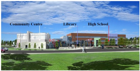 Architects rendering of what the three part complex will look like.  A high school, a community centre and a library are all linked together into a single complex.  Construction is scheduled to start in September.