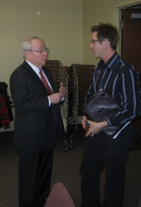 Burlington has had relatively large community protest groups in the past. The Save our Waterfront group had more than 1000 members - did it achieve anything other than getting its founder elected to city hall? Here one of the masters of public involvement, former Toronto Mayor David Crombie talks with current SOW presisdent.