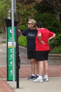 Babes at parking meters