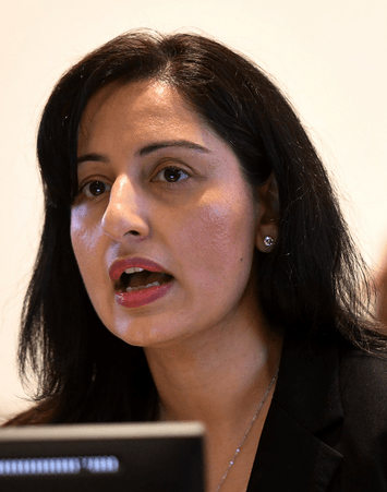 Dr Meghani at news conference Hamilton