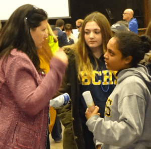 Leah Reynolds with students