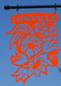 Lowville sign - orange a
