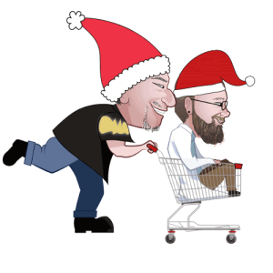 marty pushing ted in shopping cart, both with santa hats on