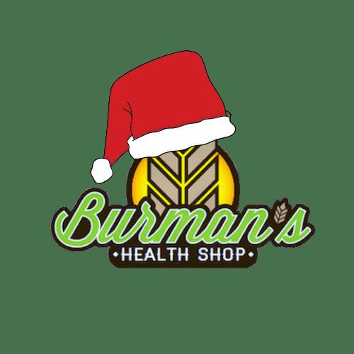 burman's logo with santa hat on it
